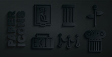 Set Rope Barrier, Road Traffic Signpost, Exit, Ancient Column, And Portrait In Museum Icon. Vector