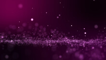 Glitter Pink Purple Particles Abstract Background Flickering Particles With Bokeh Effect. 3D Rendering..