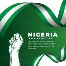 Square Banner Illustration Of Nigeria Independence Day Celebration. Waving Flag And Hands Clenched. Vector Illustration.