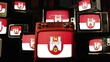Flag of Hanover, Germany, and Vintage Televisions.