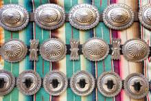 Native American Concha Belts. Santa Fe, New Mexico. USA
