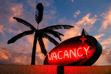 Vacancy Sign In Neon With Palm Tree