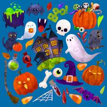Halloween Art, Hand Drawn Vector Watercolor Illustration.