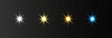 Set Of The Light Elements. Special Design Of Starlight Or Light Effect. Star Or Spotlight Beams. Christmas Star Light, Glim. Light PNG. Decor Element. Isolated Transparent Background.