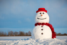 Funny Snowman In Stylish Red Hat And Red Scalf On Snowy Field. Blue Sky On Background