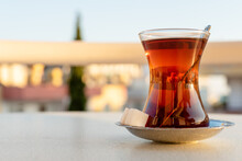 Traditional Turkish Tea In A Glass Glass With A Saucer