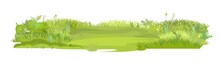Dense Summer Meadow. Smooth Playground. Herbal Green Thickets. Grass Area. Playground. A Place. Beautiful And Graceful Landscape. Isolated On White Background. Flat Style. Cartoon Design. Vector