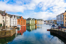 Canal With Colorful Houses In Alesund, Norway