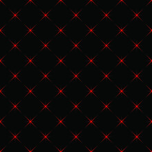 Space Pattern. Abstract Seamless Pattern. Red Vector Stars On A Black Background. Geometric Background.