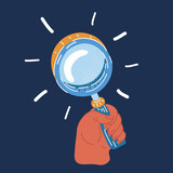 Vector illustration of magnifying glass icon in human hands.