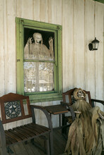 Scary Halloween Porch Decor At Haunted Looking House