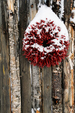 Traditional Chile Ristra Christmas Wreath In Santa Fe, New Mexico