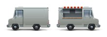 Realistic Food Truck. Ice Cream Pizza And Street Food White Trailer For Corporate Identity, Mobile Kitchen On Wheel With Open Window. Vector Set