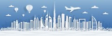 Dubai Paper Cut. UAE Skyline City Panorama With Famous Landmarks For Postcards And Poster. Vector Dubai Cityscape