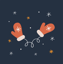 Hand Drawn Cute Christmas Mittens On Dark Background. Flat Vector Illustration.