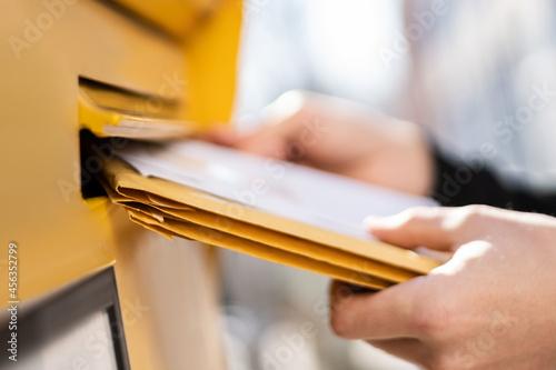 Fotografie, Obraz Letter In Envelope Or Document In Mailbox