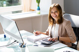 Professional Accountant Woman In Office Doing Accounting