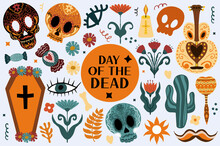 Day Of The Dead Boho Set. Bohemian Dia De Los Muertos Collection Clip Art Hand Drawing Style. Mexican Holiday Halloween With Sugar Skulls. Vector Illustration