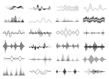 Black Sound Waves, Music Beat, Audio Equalizer. Abstract Voice Wave Rhythm, Radio Waveform, Digital Soundwave Visualization Vector Set. Melody Player With Sound Amplitude, Song Display