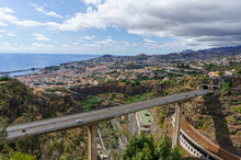 Bridge Over The Valley In Funchal. Urban Panorama.