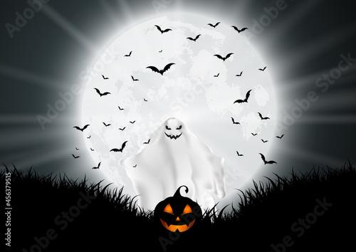 Obraz na plátně halloween background with ghost and pumpkin in moonlit landscape