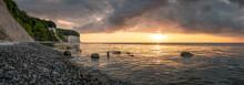 Sunrise At The Chalk Cliffs On Rügen Island (Ruegen), Baltic Sea, Mecklenburg-Vorpommern, Germany