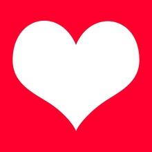 White Heart On Red Background Illustration