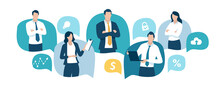 The Team. Communication Concept. Business People Standing In The Speech Bubbles Between Business Icons. Vector Illustration