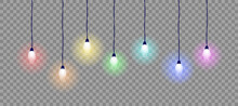 Hanging Light Bulbs In Rainbow Colors. Vector Illustration Concept. Colorful Decorative Lights. Holiday Decoration.