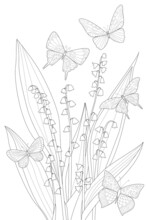 Lily Of The Valley With Flying Butterflies Around For Your Color