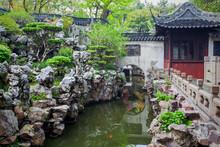 Pond Ancient Yu Yuan Garden In Shanghai