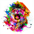 colorful artistic roaring lioness muzzle with bright paint splatters on dark background