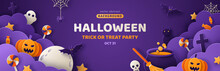 Happy Halloween Banner Or Party Invitation Background With Night Clouds And Pumpkins In Paper Cut Style. Vector Illustration. Full Moon, Witch Cauldron, Spiders Web And Flying Bat. Place For Text