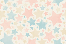 Seamless Pastel Watercolor Old Background Texture With Multicolor Stars. Pastel Color Stars On The Beige Background. Aged Painted Illustration. Hand Drawn Template. Wrapping Paper. Vintage. Retro.
