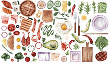 A Set Of Useful Products In A Watercolor Style. Fish Meat, Vegetables, Bread, Bacon, Tomatoes, Peppers. A Set Of Healthy Food For Stickers, Menus, Prints, Etc.