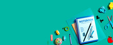 Notebooks With School Supplies Overhead View - Flat Lay