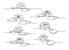 Line Art Water Lily. Set Of Minimal Lotus With Leaves.