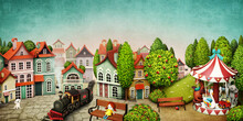 Fabulous Toy City With  Square And  Park With  Carousel