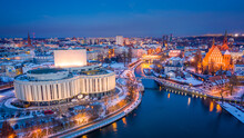 Winter Opera In Bydgoszcz, Poland. Night Architecture In Poland