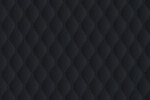 Black Leather Upholstery Vector Seamless Pattern. Quilted Leather Texture. Can Be Used In Web Design And Graphic Design.