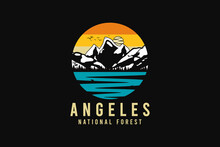 Angel-es National Forest, Silhouette Retro Style 64.Angel-es National Forest, Silhouette Retro Style