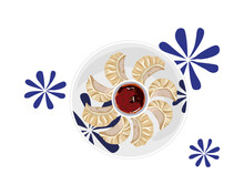 Isolated Steamed Dumplings And Sauce On White Plate With Blue Flower Paint Decoration. Asian Food Top View Vector Illustration On White Background.