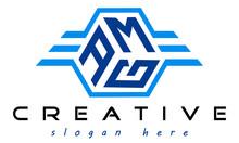 Emblem Badge With Wings AMG Letter  Logo Design Vector, Business Logo, Icon Shape Logo, Stylish Logo Template
