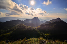Beautiful Scenery In The Daytime View From Top Of Doi Luang Chiang Dao At Chiang Mai Province In Thailand Is A Very Popular For Photographer And Tourists. Attractions And Natural Concept
