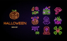 Halloween Neon Icons Vector Set. Happy Halloween Signs Glowing Light Line Signs Isolated On Dark Brick Wall Background. Halloween Typographic Led Design