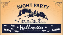 Vintage Invitation For The Halloween Holiday A Big Bat Flies Over The Cemetery