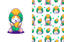 Cute Cat And Corn Cartoon With Seamless Pattern