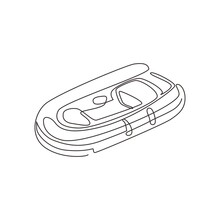 Continuous One Line Drawing Inflatable Boat. Rubber Boat Blowing By Air. Summer Joy Equipment For Relaxing, Leisure Summer Time. Water Sport Kit. Lifeguard Rescue Tool. Single Line Draw Design Vector