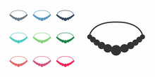 Black Pearl Necklace Icon Isolated On White Background. Set Icons Colorful. Vector