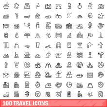 100 Travel Icons Set. Outline Illustration Of 100 Travel Icons Vector Set Isolated On White Background